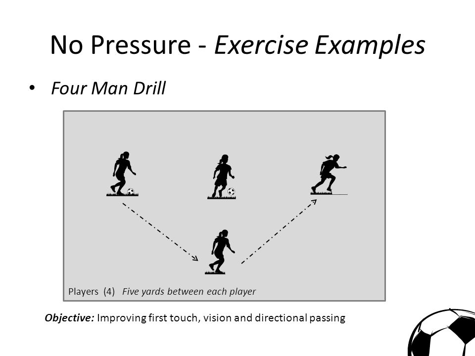No Pressure - Exercise Examples 2 Man Touch and Go Drill Players : (2) Five-Ten yards between each player and markers Objective: Improving first touch, receiving and passing on the move, and footwork for changing direction.