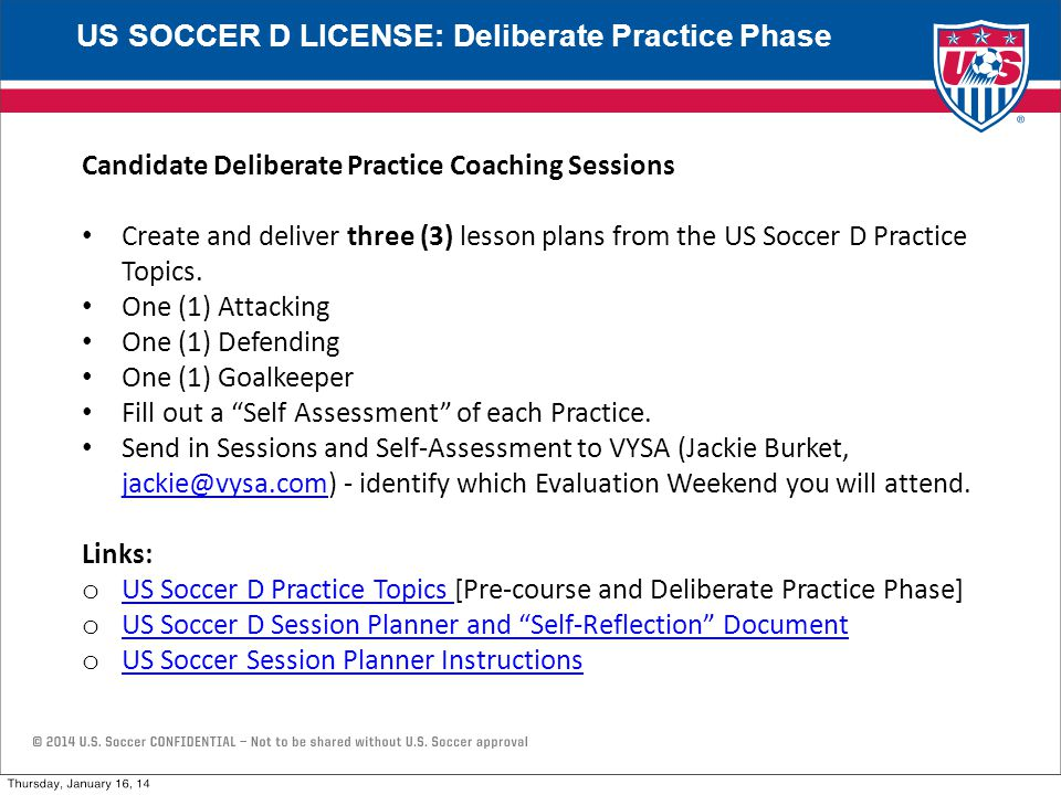 Candidate Deliberate Practice Coaching Sessions Create and deliver three (3) lesson plans from the US Soccer D Practice Topics.