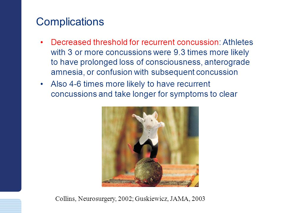 Complications Collins, Neurosurgery, 2002; Guskiewicz, JAMA, 2003 Decreased threshold for recurrent concussion: Athletes with 3 or more concussions we