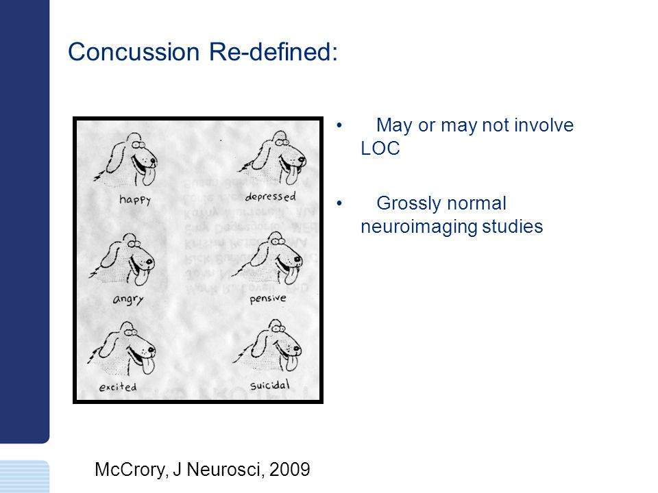 Multidisciplinary Approach Team approach is necessary for concussion management: –MDs –Athletic trainers –Coaches –School Nurses –Neuropsychologist –Parents –Athlete Other disciplines might become involved with protracted symptoms: –Speech therapy (academic issues, compensatory strategies) –Physical therapy (i.e., whiplash, vestibular) –Occupational therapy (i.e., vision) –Counseling (i.e., depression, anxiety)