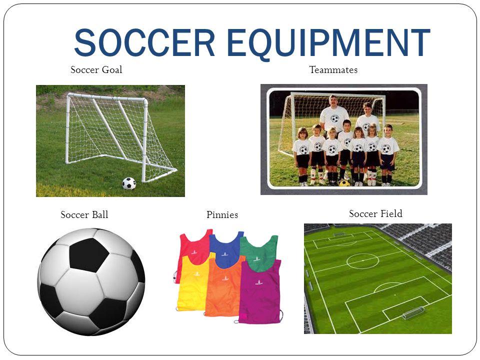SOCCER EQUIPMENT Soccer GoalTeammates Soccer Ball Pinnies Soccer Field