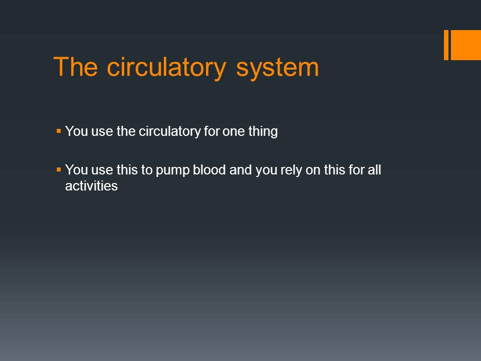 The circulatory system  You use the circulatory for one thing  You use this to pump blood and you rely on this for all activities