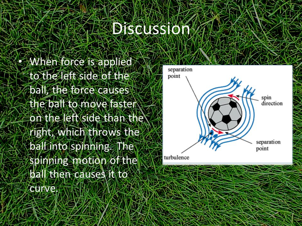 Discussion When force is applied to the left side of the ball, the force causes the ball to move faster on the left side than the right, which throws the ball into spinning.