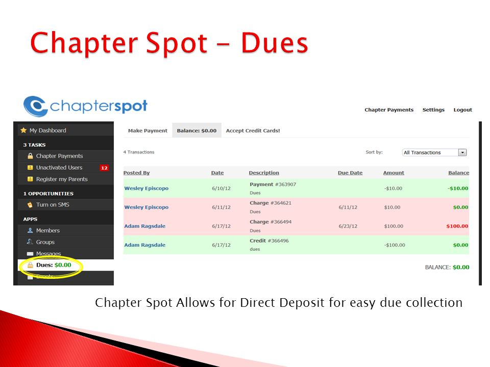 Chapter Spot Allows for Direct Deposit for easy due collection