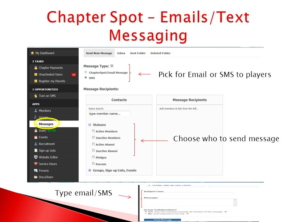 Pick for Email or SMS to players Choose who to send message Type email/SMS