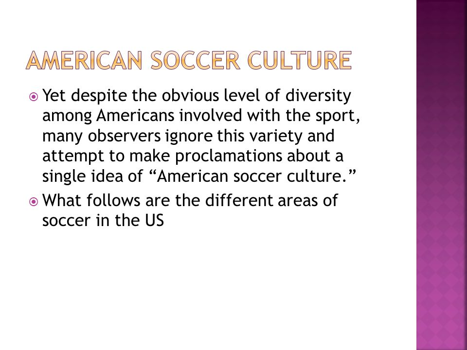 Yet despite the obvious level of diversity among Americans involved with the sport, many observers ignore this variety and attempt to make proclamations about a single idea of American soccer culture.  What follows are the different areas of soccer in the US