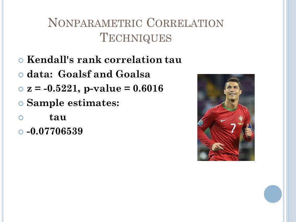 N ONPARAMETRIC C ORRELATION T ECHNIQUES Kendall s rank correlation tau data: Goalsf and Goalsa z = -0.5221, p-value = 0.6016 Sample estimates: tau -0.07706539