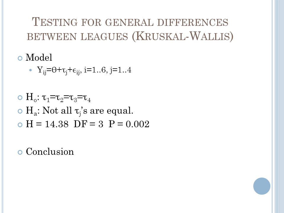 T ESTING FOR GENERAL DIFFERENCES BETWEEN LEAGUES (K RUSKAL -W ALLIS ) Model Y ij = Ɵ +τ j + ij, i=1..6, j=1..4 H o : τ 1 =τ 2 =τ 3 =τ 4 H a : Not all τ j 's are equal.