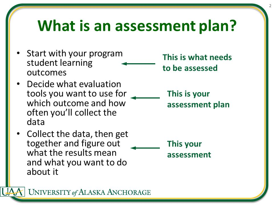 What is an assessment plan.