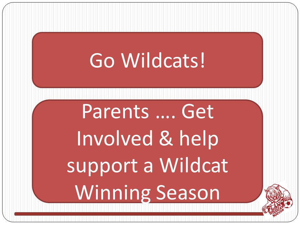 Go Wildcats! Parents …. Get Involved & help support a Wildcat Winning Season