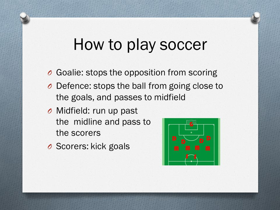 How to play soccer O Goalie: stops the opposition from scoring O Defence: stops the ball from going close to the goals, and passes to midfield O Midfield: run up past the midline and pass to the scorers O Scorers: kick goals