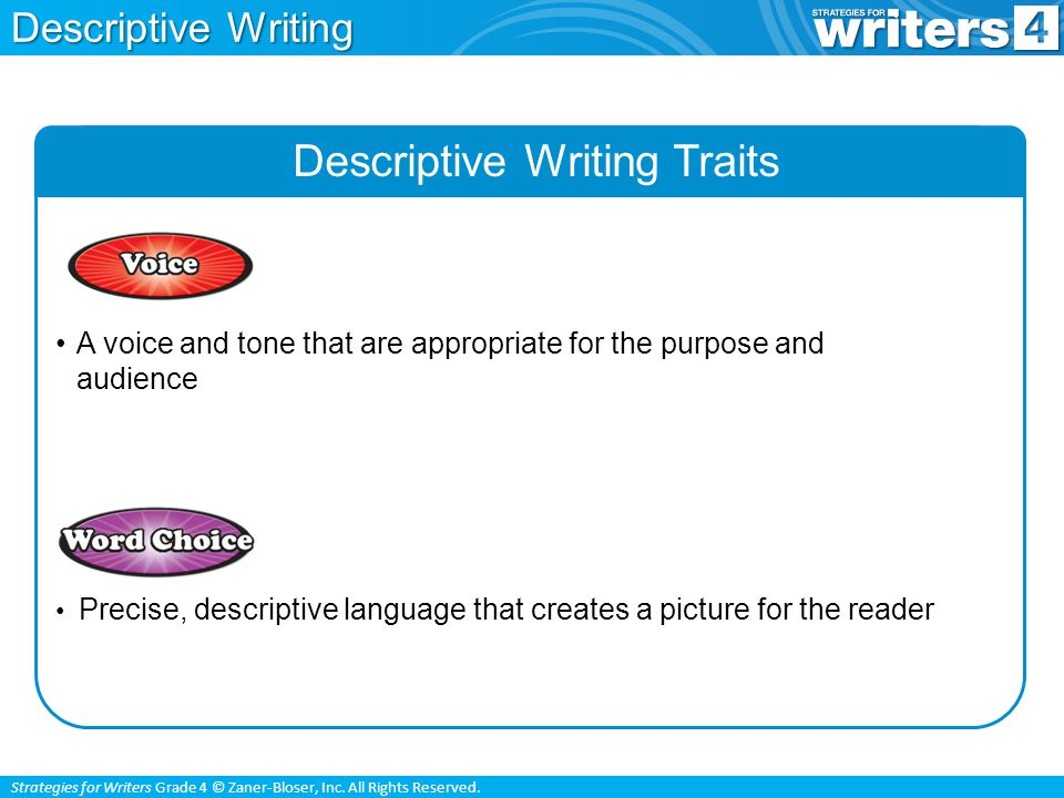 Strategies for Writers Grade 4 © Zaner-Bloser, Inc. All Rights Reserved. Descriptive Writing Traits A voice and tone that are appropriate for the purp