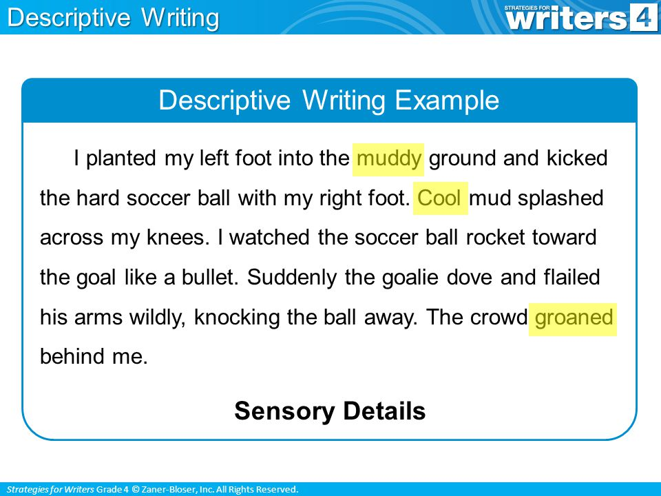 Strategies for Writers Grade 4 © Zaner-Bloser, Inc. All Rights Reserved. Descriptive Writing Example Sensory Details I planted my left foot into the m