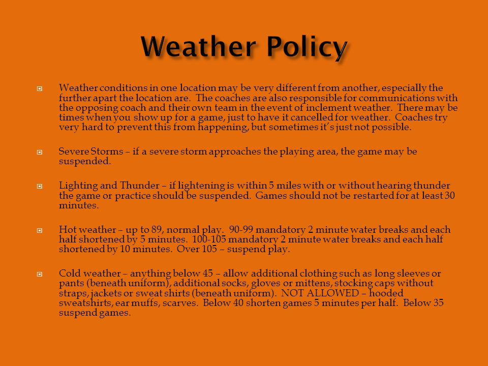  Weather conditions in one location may be very different from another, especially the further apart the location are.