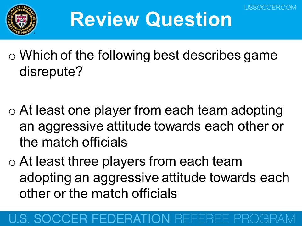 Review Question oWoW hich of the following best describes game disrepute.