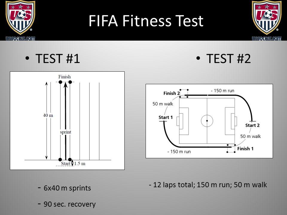 FIFA Fitness Test - 6x40 m sprints - 90 sec. recovery TEST #1 TEST #2 - 12 laps total; 150 m run; 50 m walk