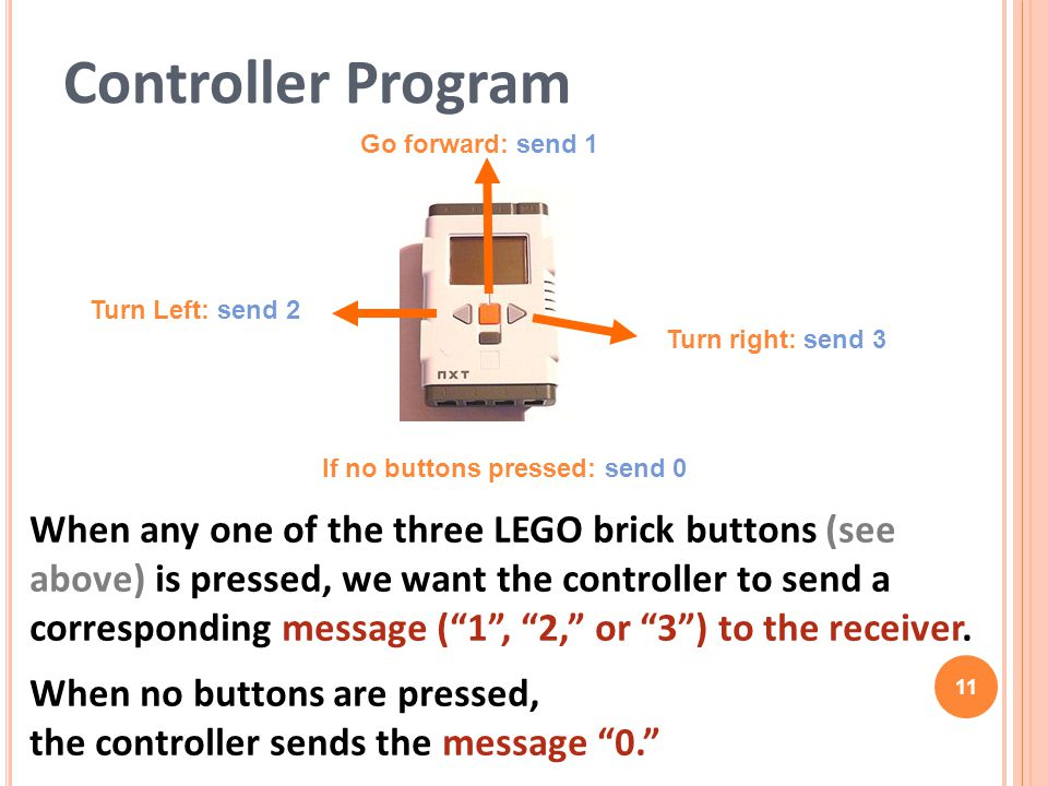 "Controller Program When any one of the three LEGO brick buttons (see above) is pressed, we want the controller to send a corresponding message (""1"", """