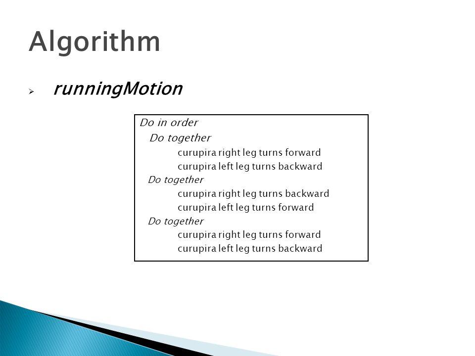  runningMotion Algorithm Do in order Do together curupira right leg turns forward curupira left leg turns backward Do together curupira right leg tur