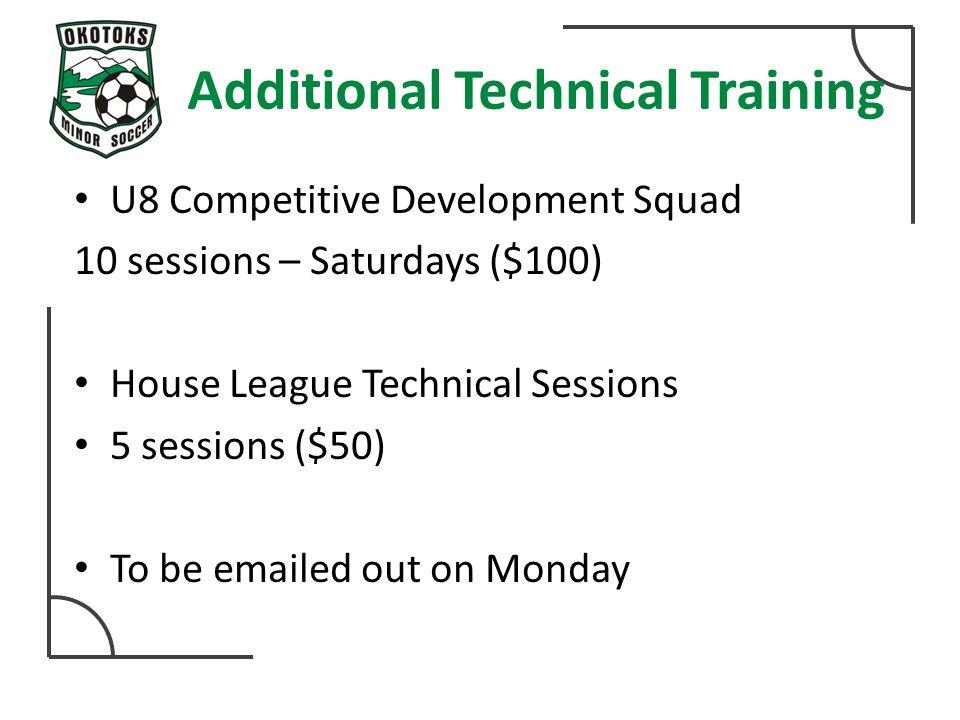 Additional Technical Training U8 Competitive Development Squad 10 sessions – Saturdays ($100) House League Technical Sessions 5 sessions ($50) To be e