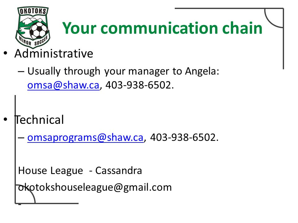 Your communication chain Administrative – Usually through your manager to Angela: omsa@shaw.ca, 403-938-6502. omsa@shaw.ca Technical – omsaprograms@sh