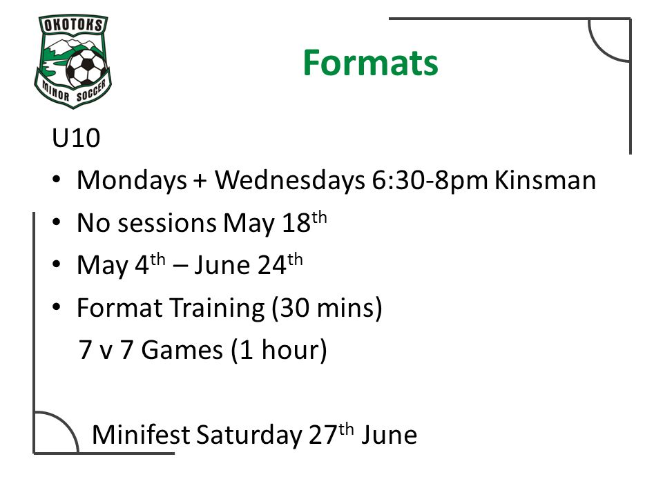 Formats U10 Mondays + Wednesdays 6:30-8pm Kinsman No sessions May 18 th May 4 th – June 24 th Format Training (30 mins) 7 v 7 Games (1 hour) Minifest Saturday 27 th June