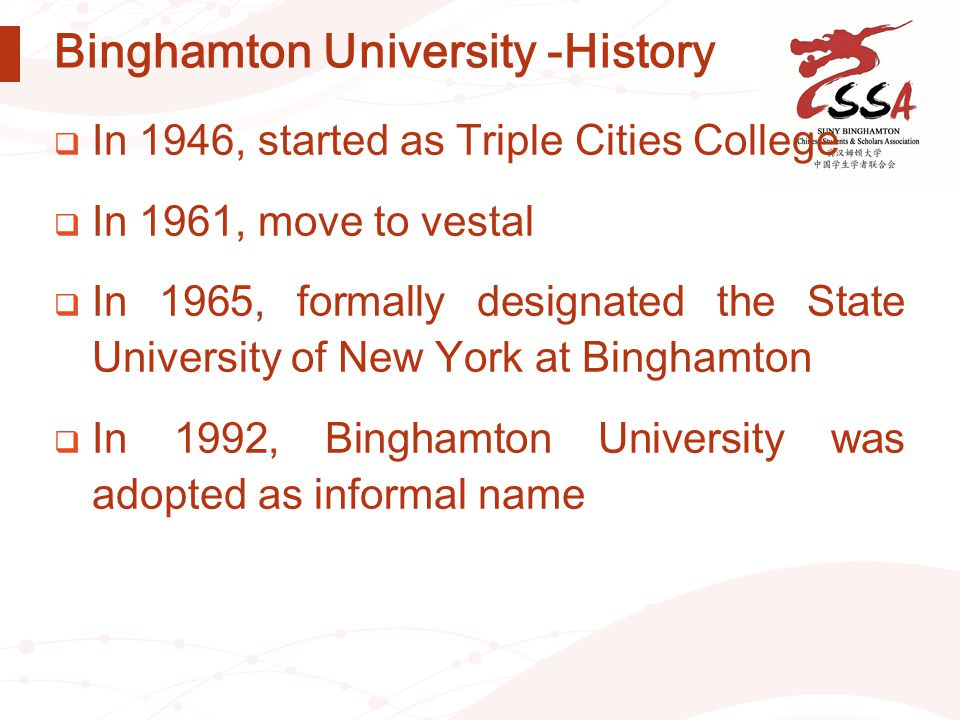 Binghamton University -History  In 1946, started as Triple Cities College  In 1961, move to vestal  In 1965, formally designated the State Universi