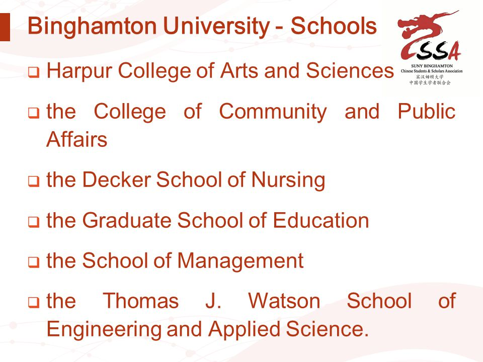 Binghamton University - Schools  Harpur College of Arts and Sciences  the College of Community and Public Affairs  the Decker School of Nursing  t