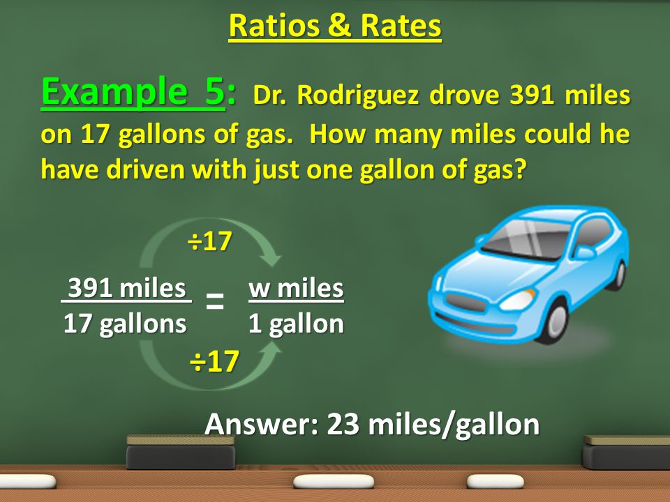 Example 5: Dr. Rodriguez drove 391 miles on 17 gallons of gas.