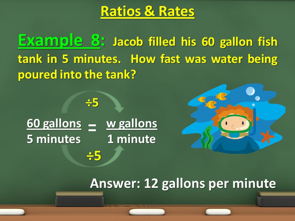 Example 8: Jacob filled his 60 gallon fish tank in 5 minutes.