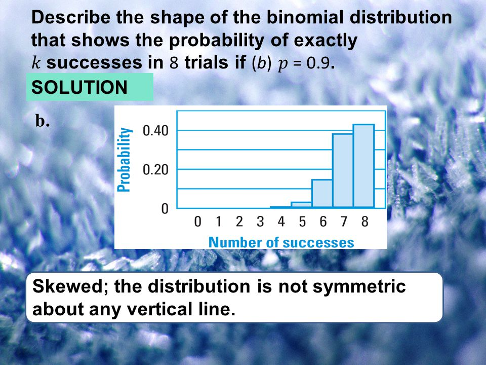 b. Skewed; the distribution is not symmetric about any vertical line. SOLUTION