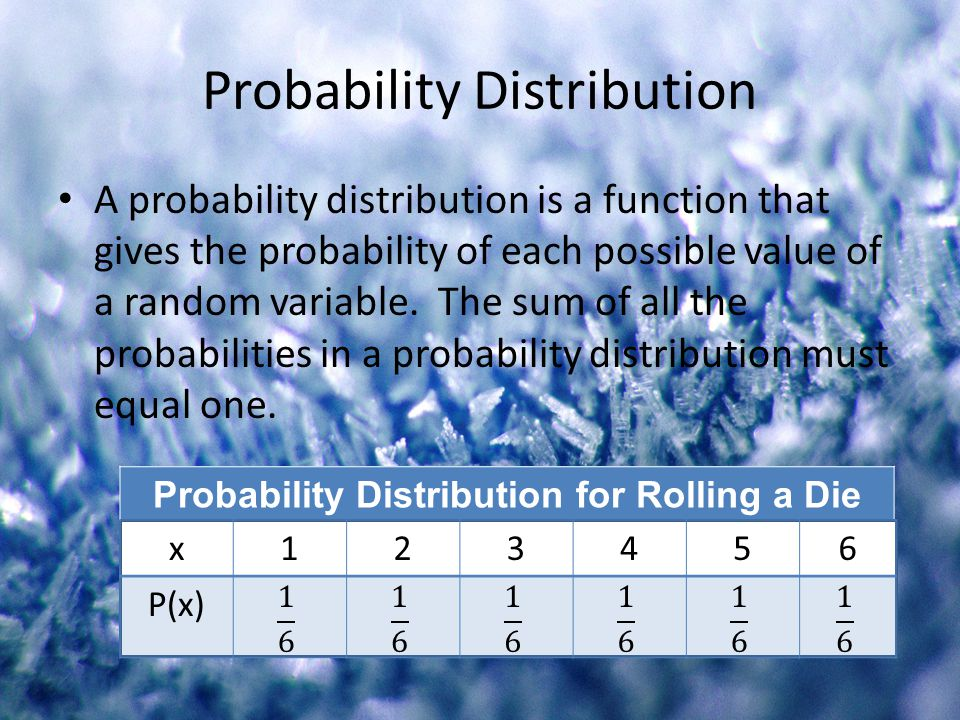 Probability Distribution A probability distribution is a function that gives the probability of each possible value of a random variable. The sum of a