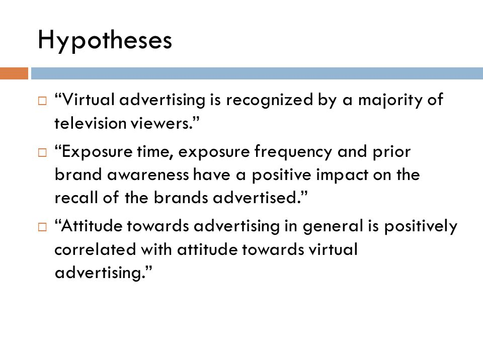 "Hypotheses  ""Virtual advertising is recognized by a majority of television viewers.""  ""Exposure time, exposure frequency and prior brand awareness h"