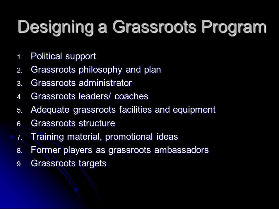 Designing a Grassroots Program 1.Political support 2.