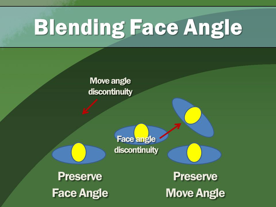 Blending Face Angle Preserve Face Angle Preserve Move Angle Move angle discontinuity Face angle discontinuity