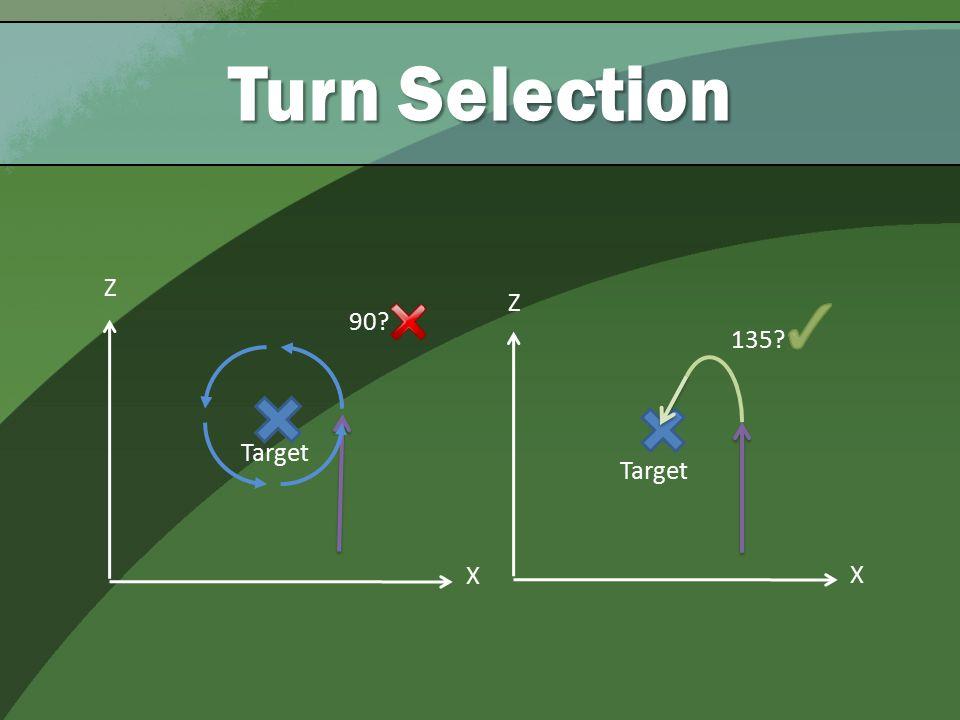 90 Turn Selection Z X Target 135 Z X Target