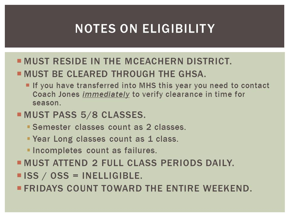  MUST RESIDE IN THE MCEACHERN DISTRICT.  MUST BE CLEARED THROUGH THE GHSA.