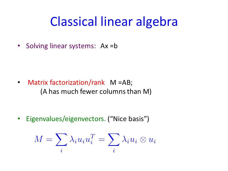 Classical linear algebra Solving linear systems: Ax =b Matrix factorization/rank M =AB; (A has much fewer columns than M) Eigenvalues/eigenvectors.