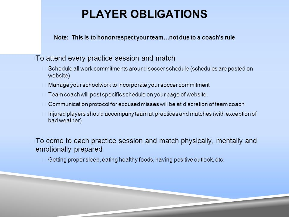 PLAYER OBLIGATIONS Note: This is to honor/respect your team…not due to a coach's rule  To attend every practice session and match  Schedule all work