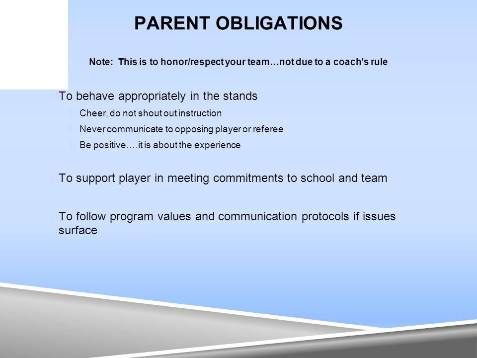 PARENT OBLIGATIONS Note: This is to honor/respect your team…not due to a coach's rule  To behave appropriately in the stands  Cheer, do not shout ou