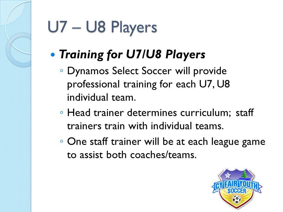 U7 – U8 Players Training for U7/U8 Players ◦ Dynamos Select Soccer will provide professional training for each U7, U8 individual team.