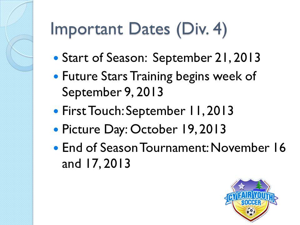 Important Dates (Div.