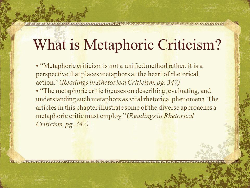What is Metaphoric Criticism.