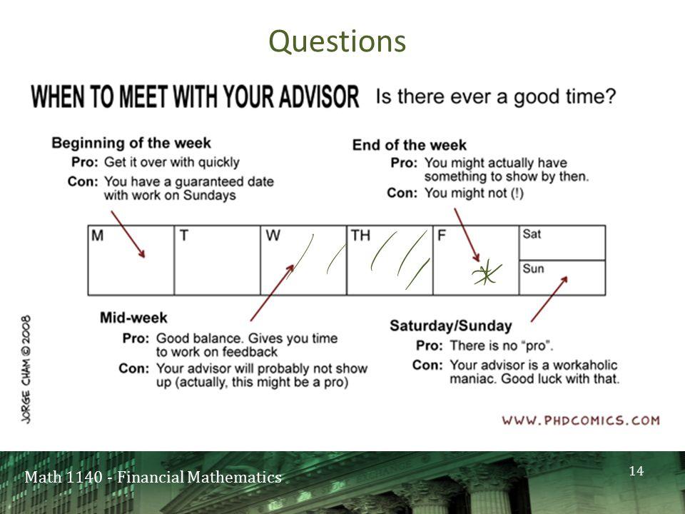 Math 1140 - Financial Mathematics Questions 14