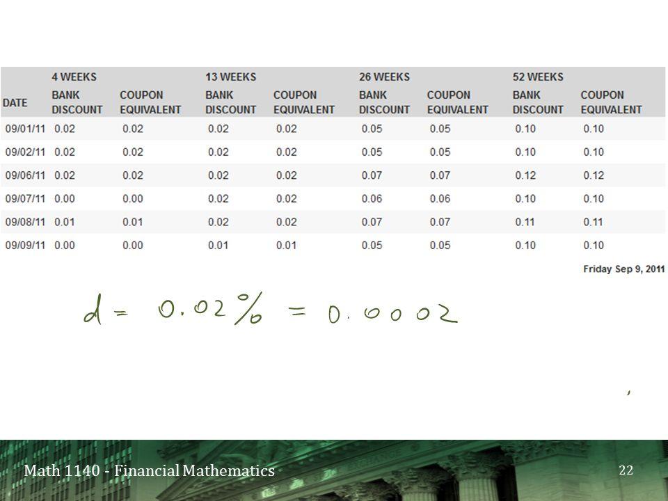 Math 1140 - Financial Mathematics 22