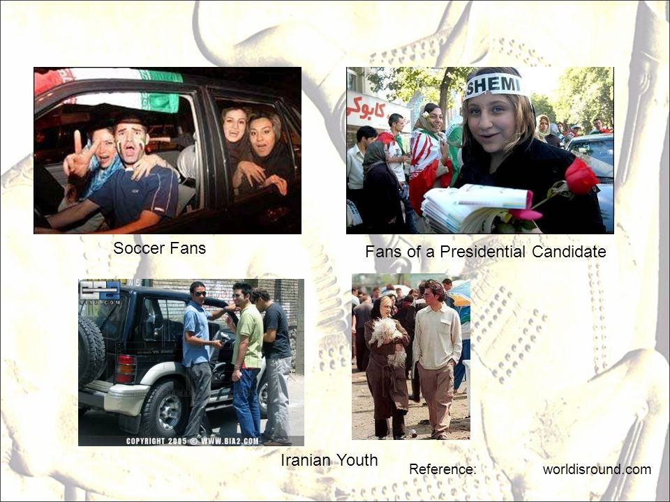 Reference: worldisround.com Fans of a Presidential Candidate Soccer Fans Iranian Youth