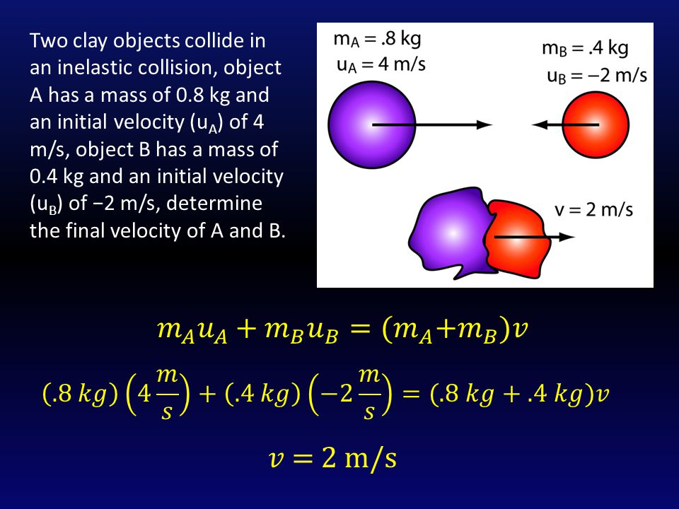 Two clay objects collide in an inelastic collision, object A has a mass of 0.8 kg and an initial velocity (u A ) of 4 m/s, object B has a mass of 0.4 kg and an initial velocity (u B ) of −2 m/s, determine the final velocity of A and B.