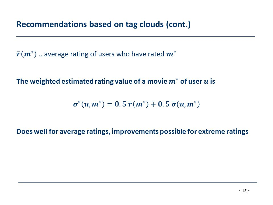 - 15 - Recommendations based on tag clouds (cont.)