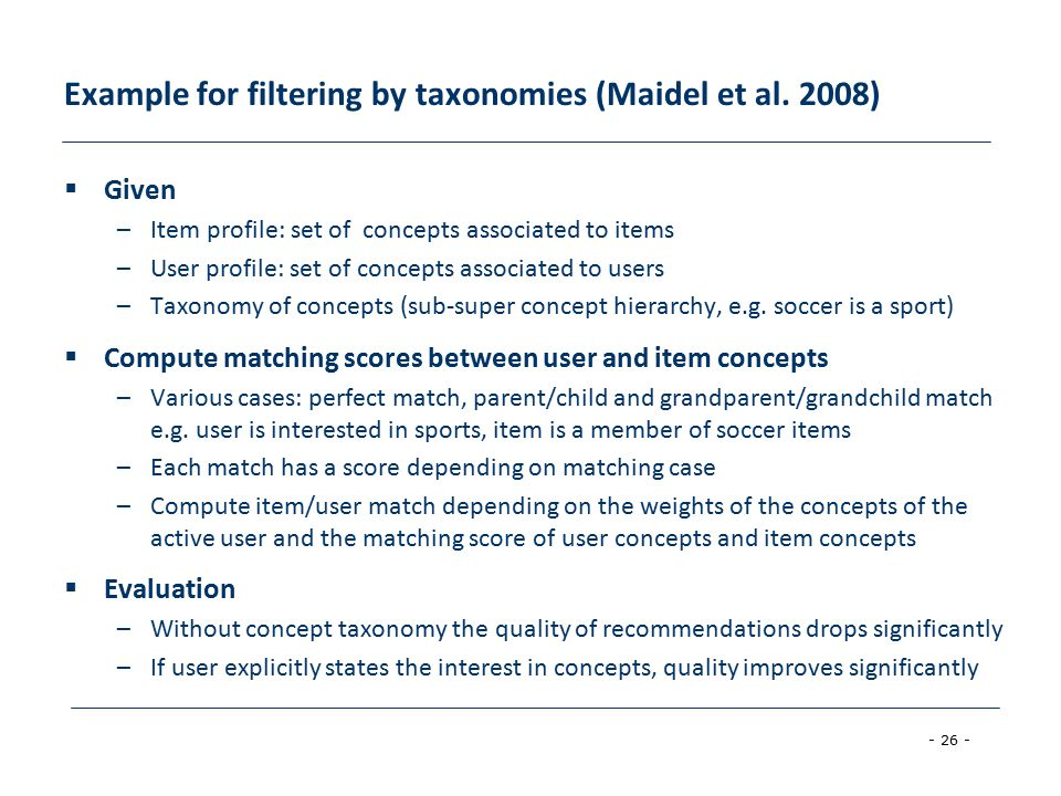 - 26 - Example for filtering by taxonomies (Maidel et al.