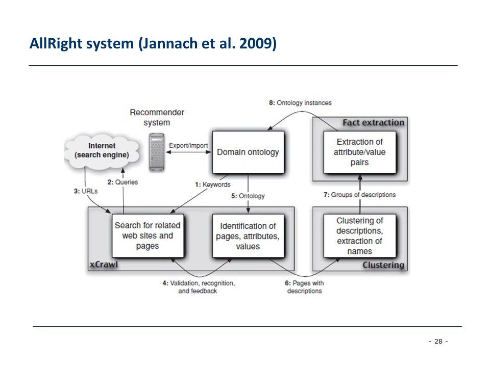 - 28 - AllRight system (Jannach et al. 2009)