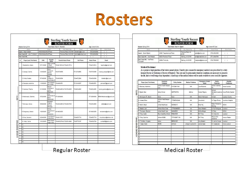 Code of Conduct Medical Roster *Jersey Numbers!!!!.